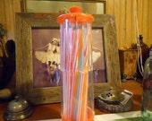 Vintage Orange Plastic Straw Holder
