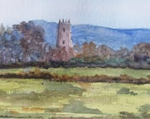 Kildownet Castle 10 inches by 6 inches ORIGINAL WATERCOLOR