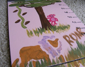 Foldable Children's Growth Chart, Girly Safari
