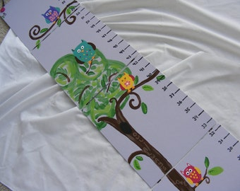 Foldable Children's Growth Charts, Girly Owls