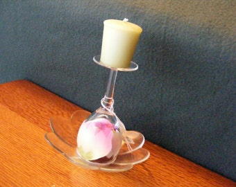 Glass Candle Holder, Flower Pedal