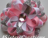 Holiday Christmas Pink Snowflake Flower Loop Bow With Silver Glitter Ribbon and Rhinestone Center