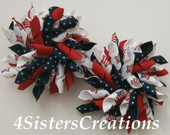 Set of Small 4th of July Korkers Patriotic Star Flag Ribbon with Red and Navy Blue Swiss