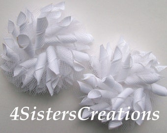 Small Korker Bow Set - Solid White with Tulle