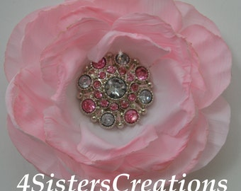 Light Pink Artificial Flower with Custom Light Pink and Clear Acrylic Rhinestone Button