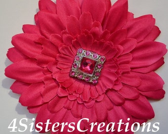 Shocking Pink Gerbera Daisy Flower Clip with Square Button Rhinestone Center