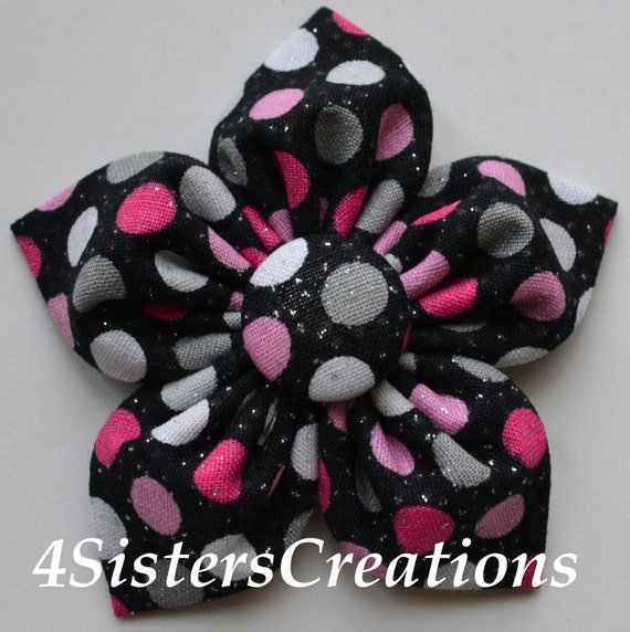 Fabric Flower Bow  Black Glitter with Hot Pink, Pink, Grey and White Dots