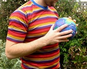 men's striped t shirt size large