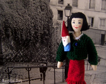 Amelie Poulain Doll, With Garden Gnome Finger Puppet, Made to Order