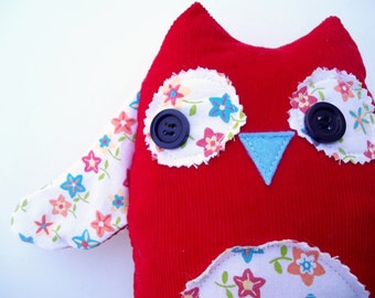 Stuffed Owl Woodland Friend, Red Corduroy