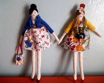 Custom Cloth Art Doll, 12 inches tall
