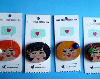 2 inch Cute Face Button Pin Brooch, Black Hair