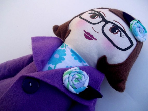 Cloth Doll, Rag Doll with Glasses Brown Hair, Purple Coat