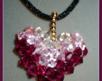CRYSTAL HEART PENDANT  -  beadwork in fushia, pink and white