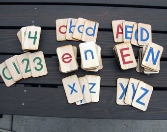 """Opposite Colors, Sandpaper Letters, Uppercase, Lowercase and Numbers mounted on 3""""x5"""" Birch wood"""