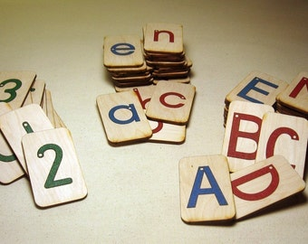 Mini Sandpaper Letters Set - Uppercase, Lowercase and Numbers 0-20 on Birch Wood