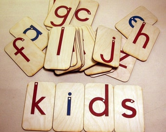 """Lowercase Sandpaper Letters on 3""""x5"""" birch wood"""
