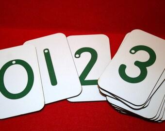 "Sandpaper Numbers 0-10 on 3""x5"" Fiberboard Wood"