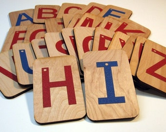 """Sandpaper Letters Uppercase mounted on 3""""x5"""" birch"""