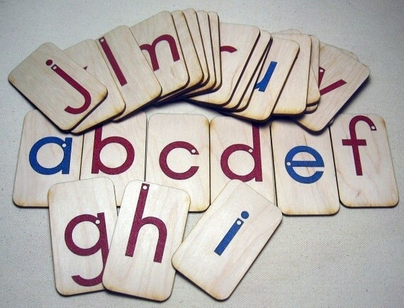 Mini LOWERCASE Sandpaper Letters on birch wood