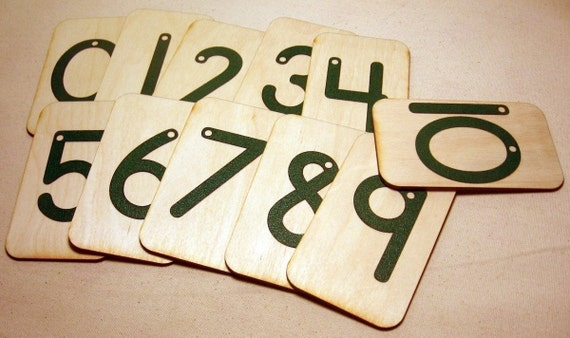 2 sets of Sandpaper Numbers 0-10 mounted on birch wood