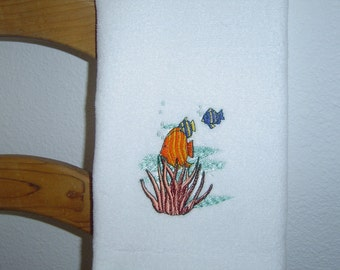 WHITE Velour HAND Towel --  with embroidered ANGEL Fish