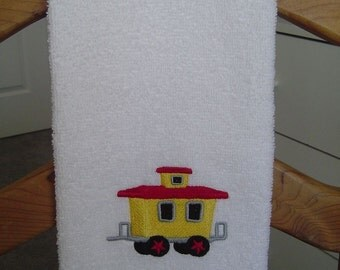 YELLOW and RED CABOOSE  Machine Embroidered Terry Cloth Hand Towel