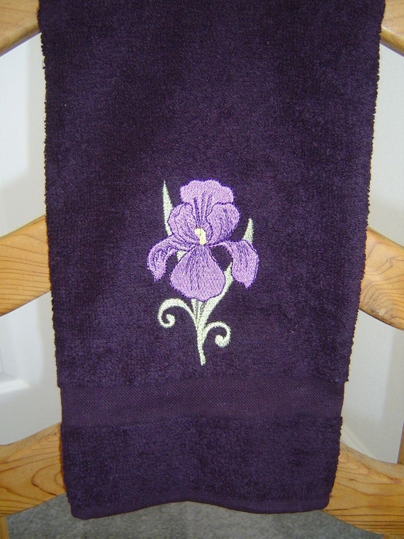 Dark Purple Hand Towel With Embroidered Purple Iris By