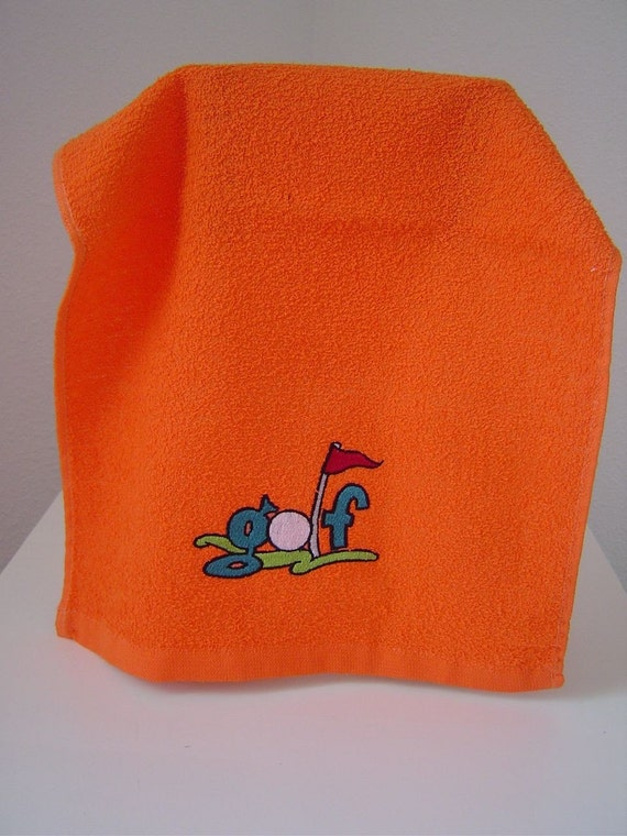 SALE ... ORANGE  Golf - Sports Rally Towel with Embroidered GOLF design and grommet.