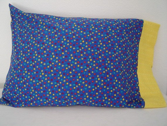 BLUE, YELLOW  and RED  Dots Print Pillowcase