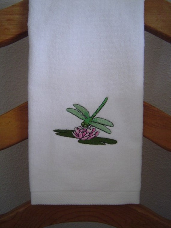 WHITE Velour HAND Towel --  with machine embroidered DRAGONFLY and Lily Pad