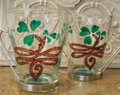 St. Patrick's Day Shamrock Mug/Cup Tempered Glass Hand painted  Set of 2