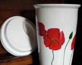 Ceramic Travel Mug Hand Painted  - Red Poppies
