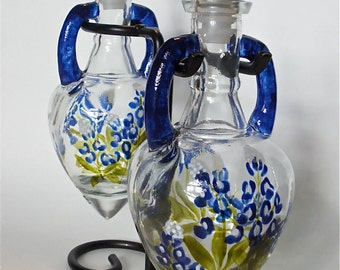 Painted Glass Oil & Vinegar Set Texas Bluebonnets