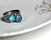 BUDDING. Sterling Silver Stacking RIngs (set of 5). YOUR SIZE.