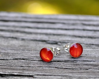 POPPY. Petite Photo post earrings. Sterling Silver.