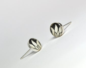 Lotus. Petite Photo Post/Stud-Sterling Silver earrings