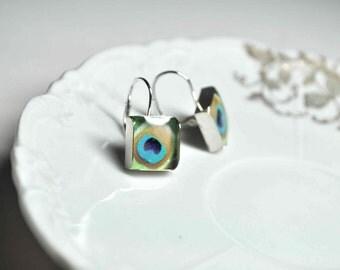 PEACOCK. Lever-back dangle earrings. (Sterling Silver)