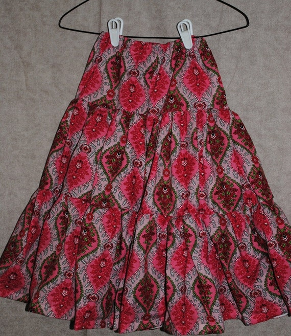 Girls Size 6 7 Long Modest Tiered Twirly Skirt in Pink Green Red Damask