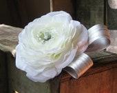 1/2 OFF SALE - white ranunculus hair clip - Princess Bride