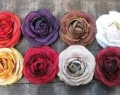 ranunculus hair flower clip - Bridesmaid Blissful Buttercup - spice, plum, mocha, winter white, golden, cherry, latte, brick red