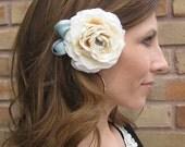 1/2 OFF SALE - ranunculus hair adornment, ivory and tiffany blue - Boho Romance