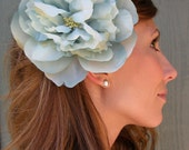 aqua blue peony flower hair clip - Swimming in a Sea of Romance - something blue