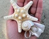 natural starfish and sea shell hair adornment - Blushing Beach Bride