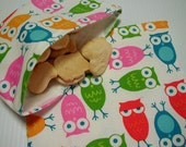2pc Pink Multi Color Owls Reusable Sandwich and Snack Bag