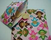 2pc Pink Multi Color Monkeys Reusable Sandwich and Snack Bag