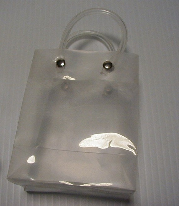 75 Small Clear Vinyl Gift Bags With Handles