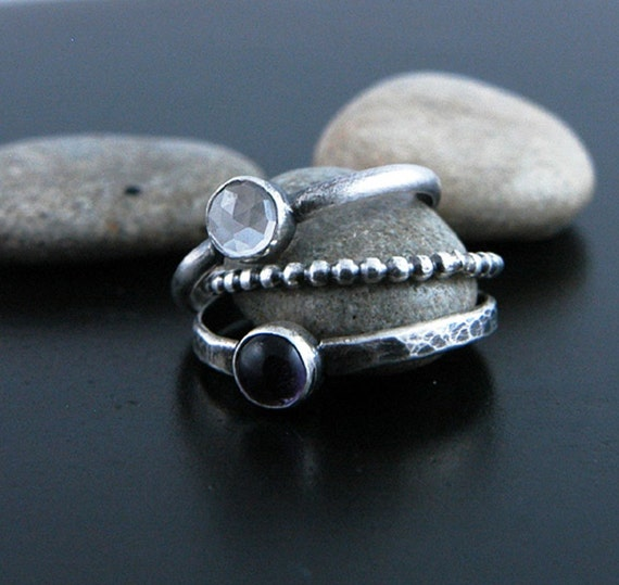 Aura Hand Forged Stacking Rings--Set of 3