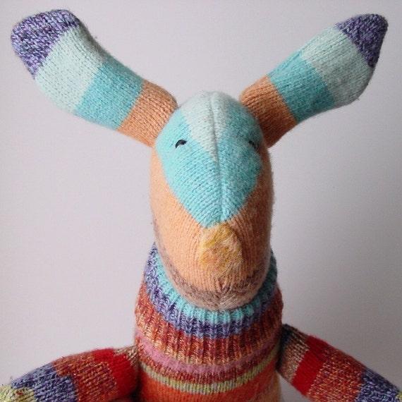 Circus - Natural Plush Bunny Toy - Baby safe - Waldorf inspired - Easter Basket