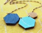 Water and Sun Hexagon Reversible Necklace